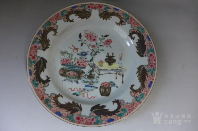 广彩博古花卉盘