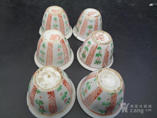 文革时期手绘粉彩杯6个