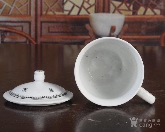 手绘山水风景图�{白泥釉把子茶杯