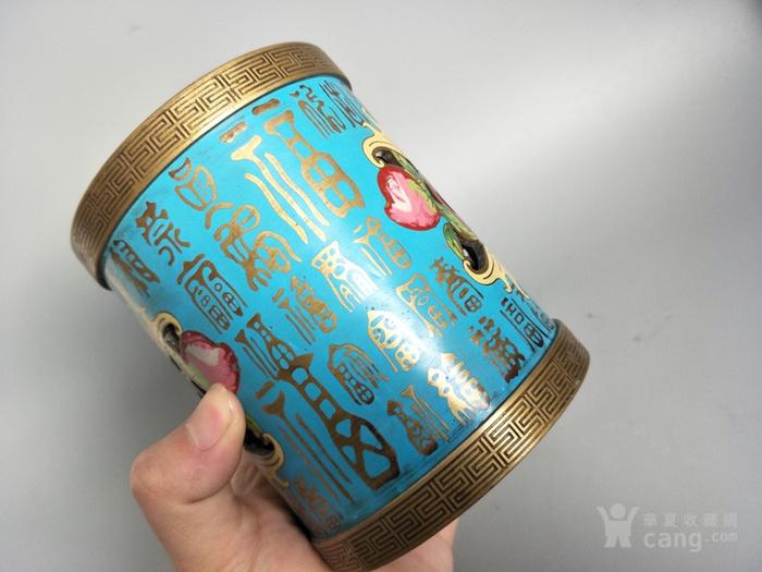 清代做工精致的景泰蓝铜笔筒