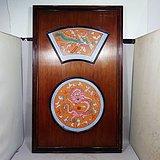 民国粉彩龙凤绘画瓷板挂屏