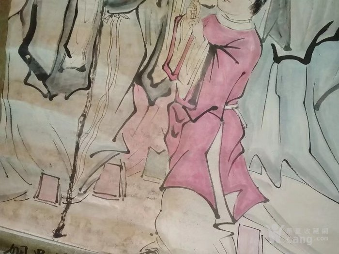 纯手绘老字画人物画国画神仙画福禄寿喜三星图,四尺中堂大尺寸画