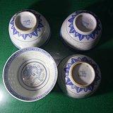 四个青花玲珑茶碗
