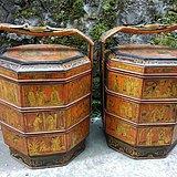 763 古玩古董刘备三顾茅庐图案八角大提篮食盒
