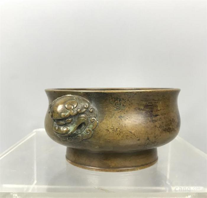 明代双狮耳铜香炉