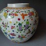 粉彩花卉罐