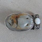 银镶嵌和田玉带扣