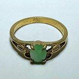回流 晚清 翡翠a货 冰种满绿 铜鎏金 戒指 包浆老厚