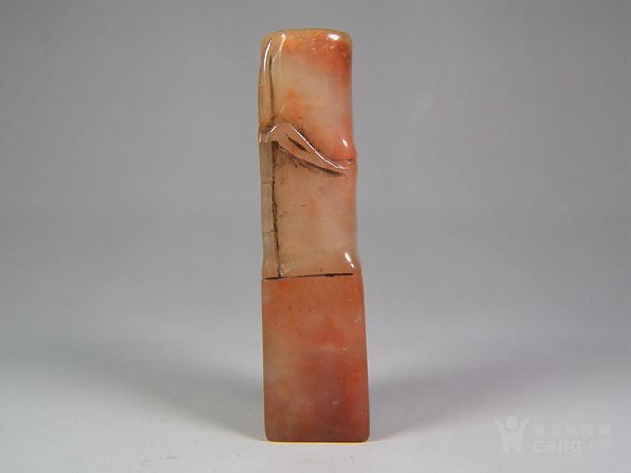 粉红色寿山石竹叶竹节大印章图2