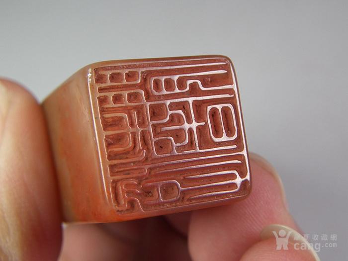 粉红色寿山石竹叶竹节大印章图3