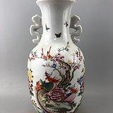 粉彩凤凰牡丹花鸟瓷瓶A5986