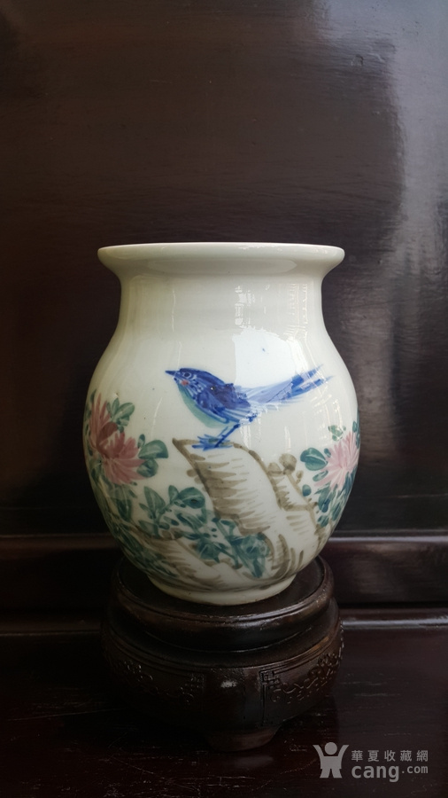 建国初精品,釉下五彩花鸟罐。