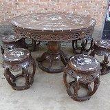 紫檀老家具镶嵌螺钿圆桌七件套