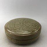 绿釉花卉瓷盒A6213