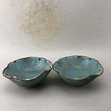 蓝釉花口瓷碗A6398