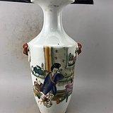 粉彩降彩古美瓷瓶A6463