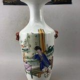 粉彩降彩古美瓷瓶A6464