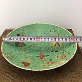 金童玉女绿釉花卉瓷碗A1476
