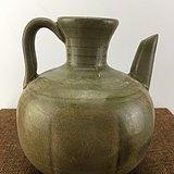 绿釉开片瓷壶A1589