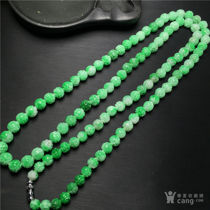 x485细糯种白底青飘正阳绿团寿龙纹108佛珠塔珠项链