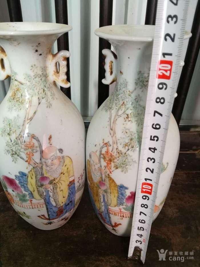 民国手绘粉彩人物花瓶一对