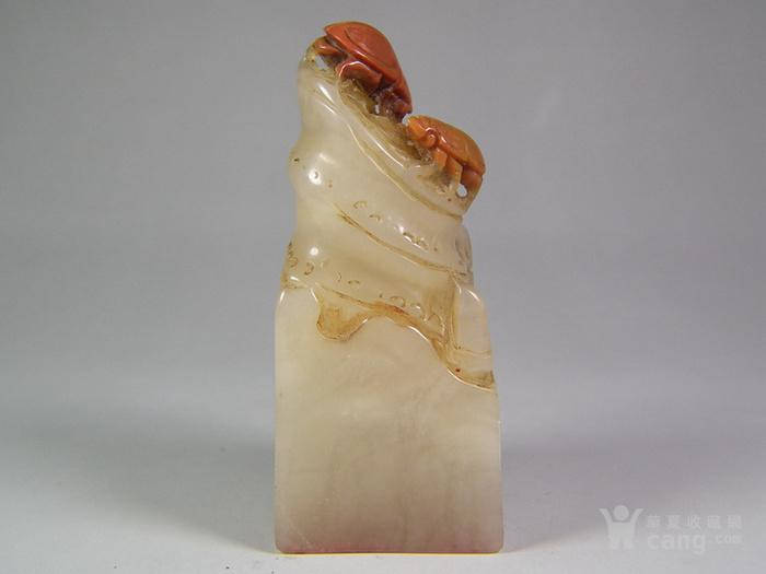 寿山冻石巧雕甲虫竹节大印章图2