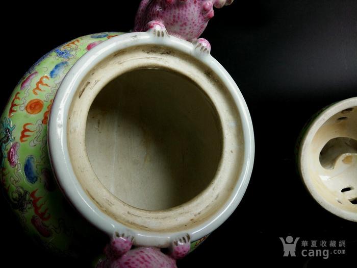 民国 粉彩瓷塑瑞兽三足象耳瓷熏香炉 文房焚香炉