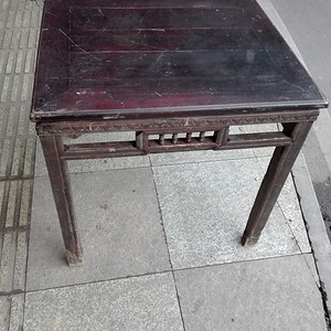 清川工马蹄雕花八仙桌