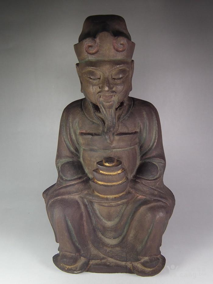 木胎鎏金财神大坐像图1