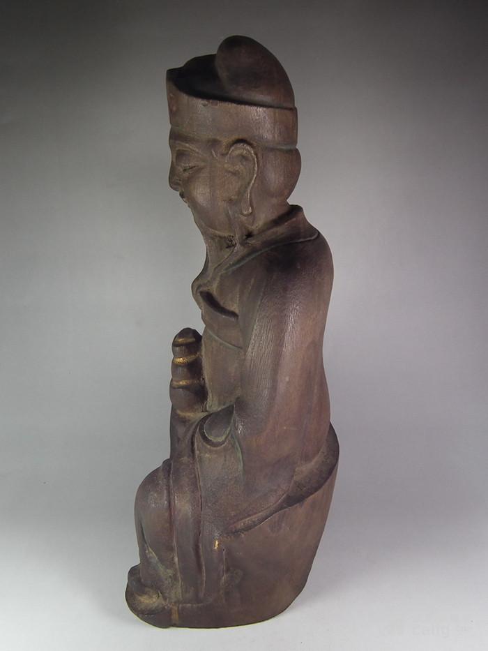 木胎鎏金财神大坐像图2