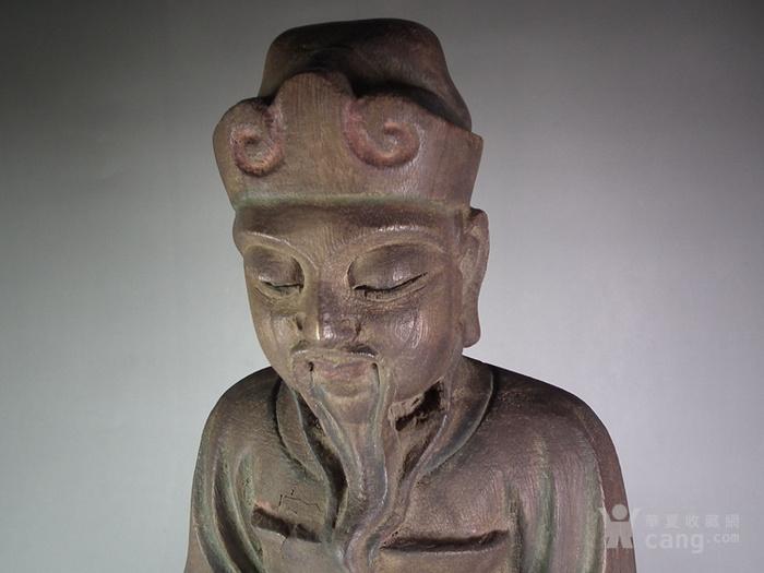 木胎鎏金财神大坐像图4