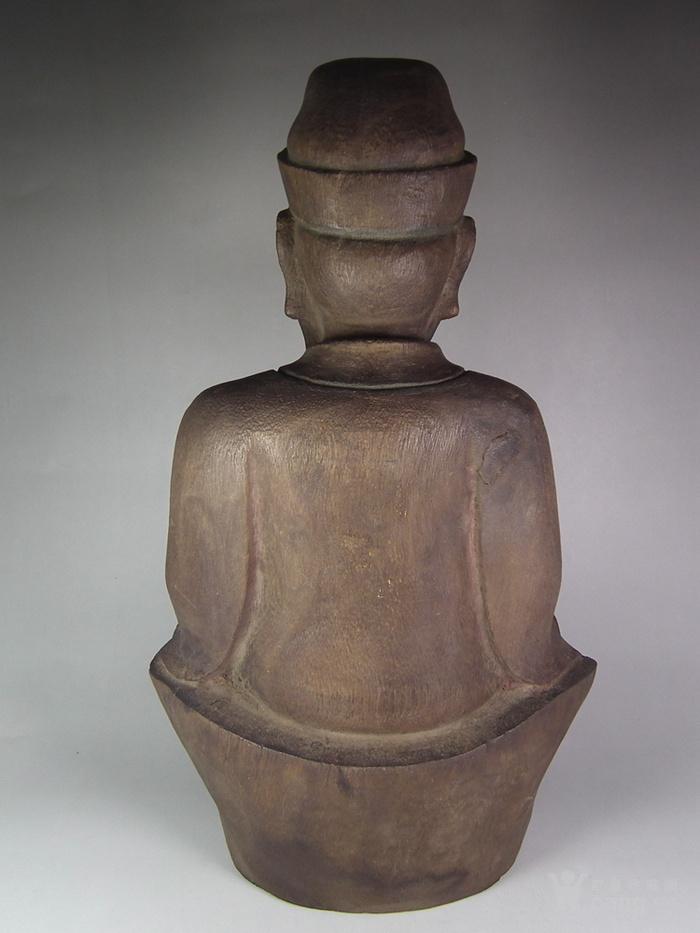 木胎鎏金财神大坐像图3