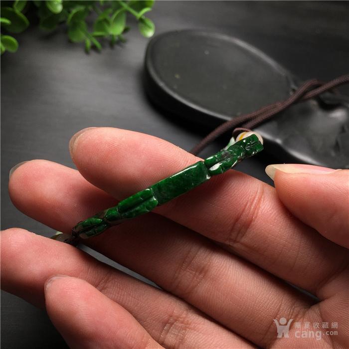 玉泉文玩x553创汇期豆种满绿翡翠双龙金钱挂佩