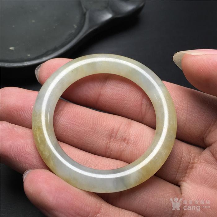 玉泉文玩x556民国解放初糯冰种飘黄翡翠 袈裟环 挂件