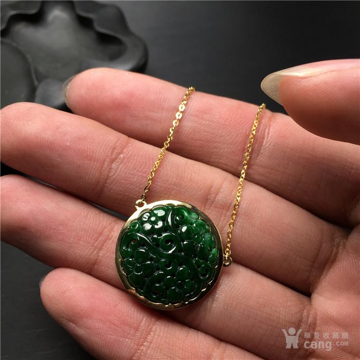 玉泉文玩x559*回流18k金镶满绿翡翠福在眼前圆形吊坠