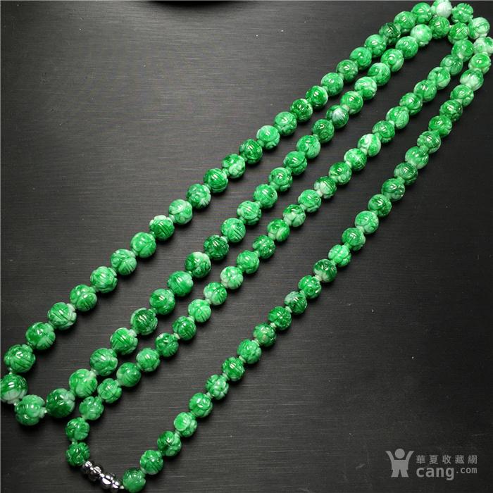 玉泉文玩x561回流糯冰种飘正阳绿缠枝寿字纹108佛珠项链