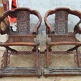 传世老家具满雕龙交椅一对大号