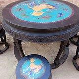 紫檀老家具镶嵌景泰蓝铜圆桌一套