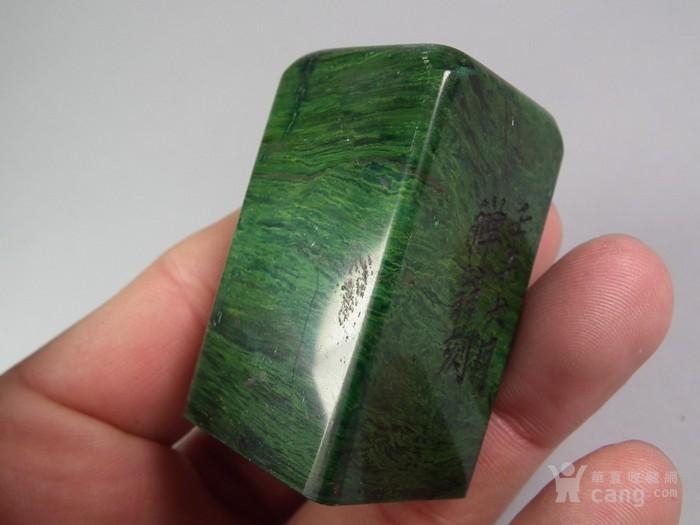 老绿色寿山石大印章图7