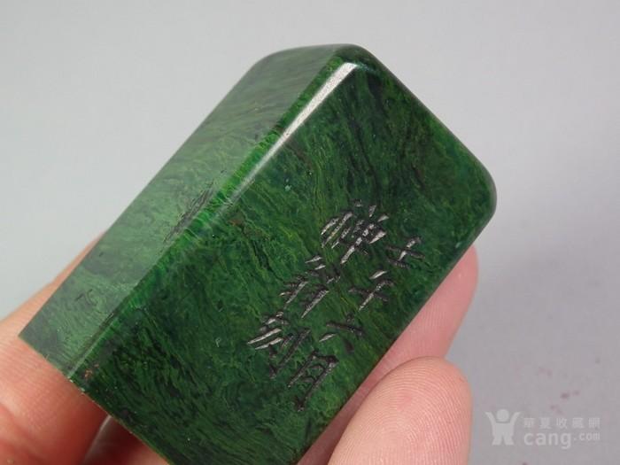 老绿色寿山石大印章图10