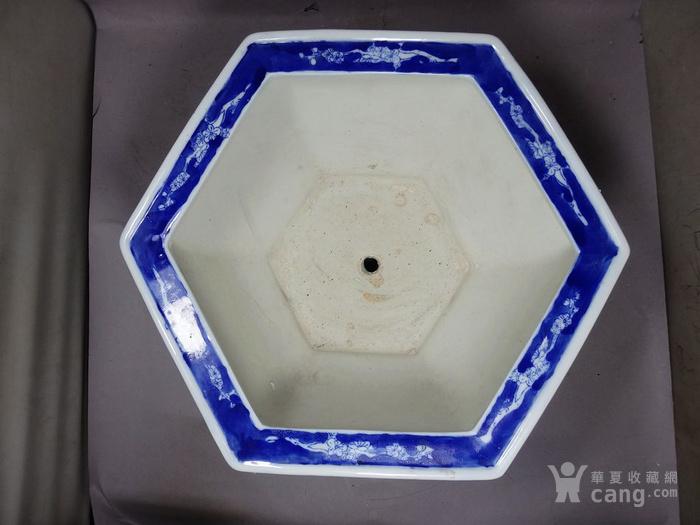 民国青花冰梅绘画六*花盆
