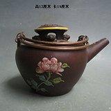 文革花卉加彩紫砂壶