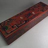 红漆描金寿字花卉大长方宝盒