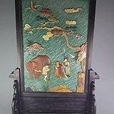 清代中期老红木镶嵌松石多宝螺钿松鹤人物吉象官做大插屏摆件