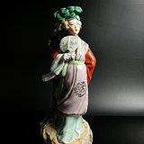 建国初 瓷雕塑粉彩侍女台灯瓶花插摆件 新中国567瓷造像