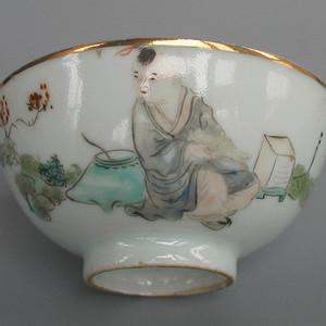 瓷绘名家吴少峰绘浅绛彩人物纹莲子碗D号