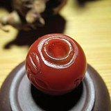 明 柿子红 玛瑙 雕刻 贵人 单珠 包浆老道 *壳熟润