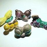 回流 民国 仿生 水果瓷质毛笔架 手工制作 添彩