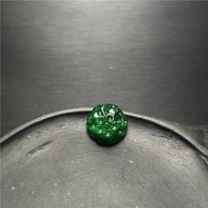 玉泉文玩x600创汇期糯冰种满绿翡翠缠枝花戒面镶嵌件