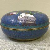 建国初期铜胎掐丝珐琅桃纹大号印泥盒